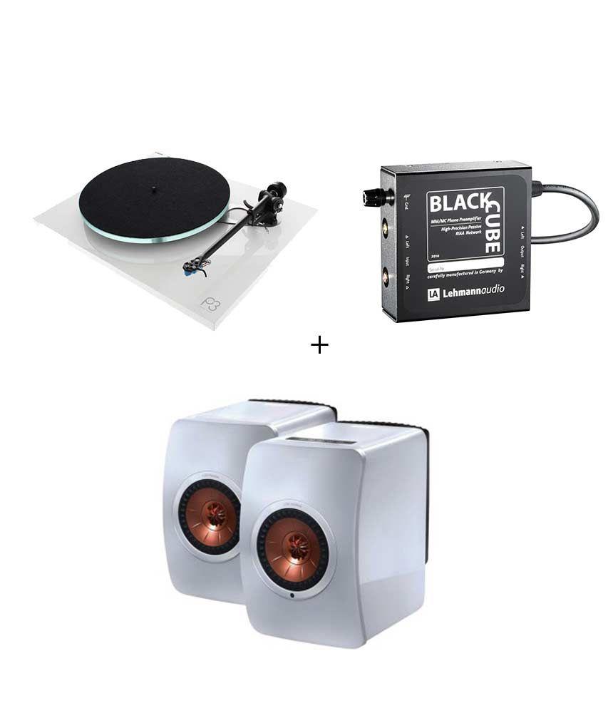RetroFutur - Pack Rega Planar 3 + Lehman Black Cube + Kef LS50 Wireless Blanc