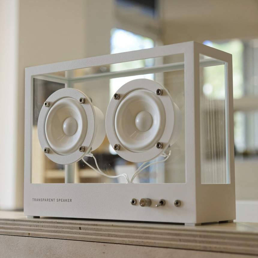 small transparent speaker white